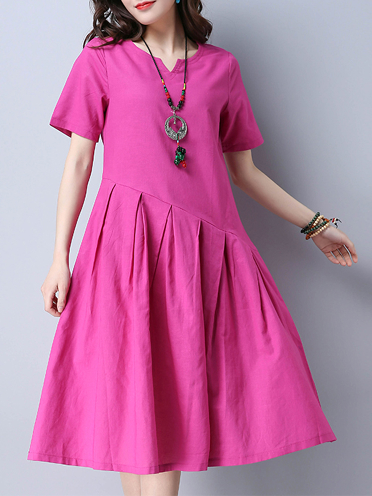 Casual Pure Color V-Neck Short Sleeve A-Line Women Dress