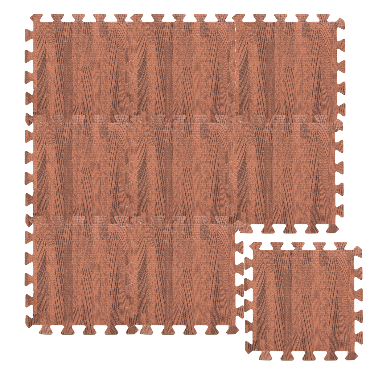9Pcs 30x30 Square EVA Foam Wood Grain Interlocking Tiles Kids Exercise Play Floor Mats