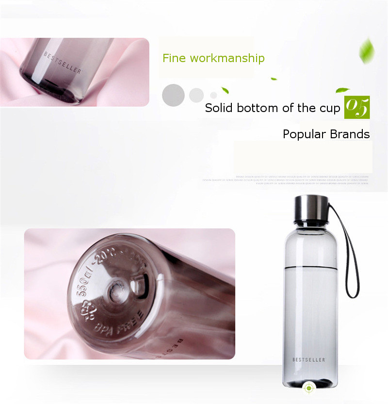 500ml Business Bottle Portable Fruit Juice Teacups Plastic Transparent Water Bottles