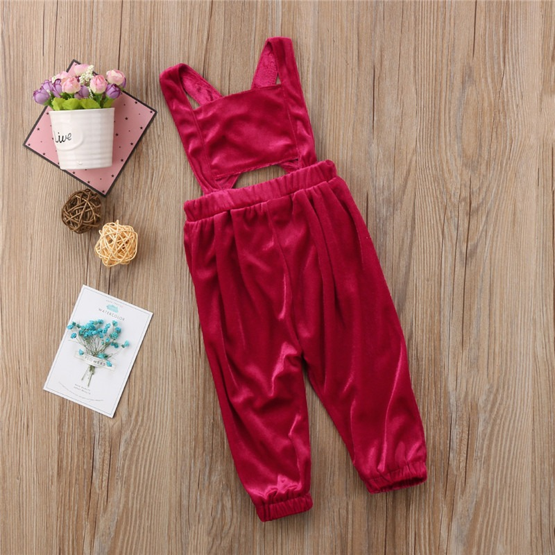 Girls Children Solid Color Back Cross Jumpsuit for 2Y-7Y