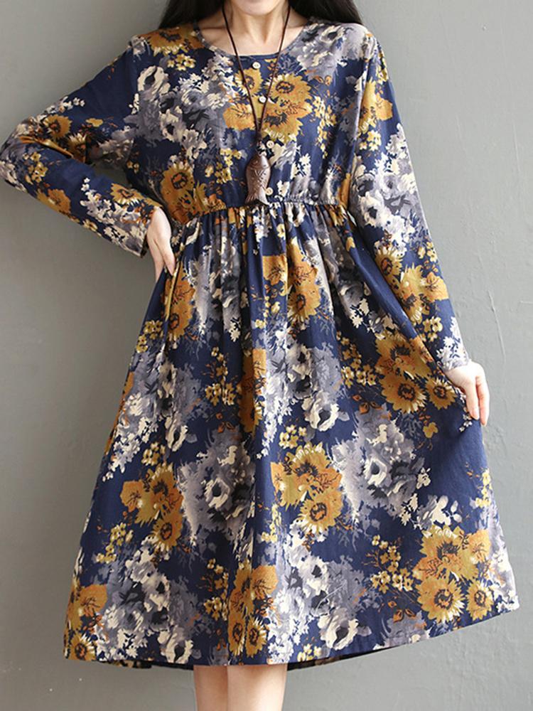 Retro Women Long Sleeve High Waist Floral Printed Swing Dresses