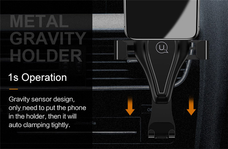 USAMS Metal Gravity Auto Lock Multi-angle Rotation Phone Holder Car Mount Stand for Mobile Phone