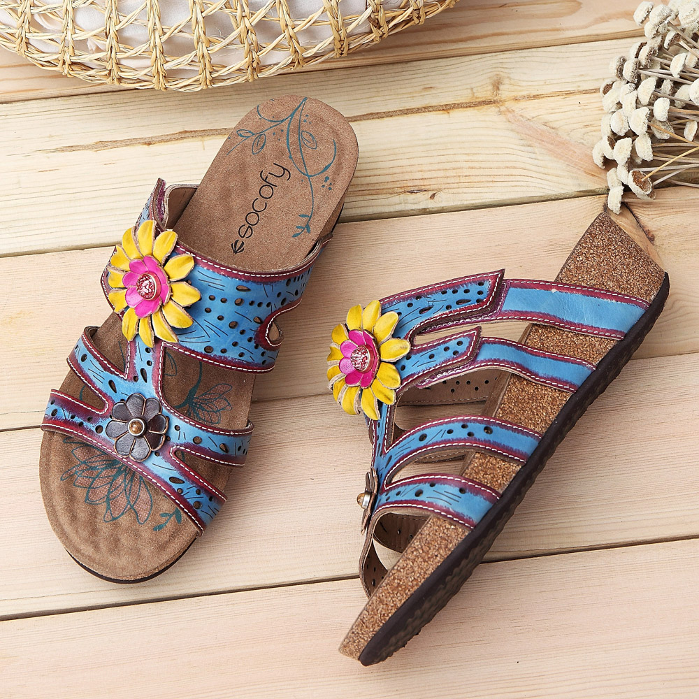SOCOFY Genuine Leather Soft Sandals
