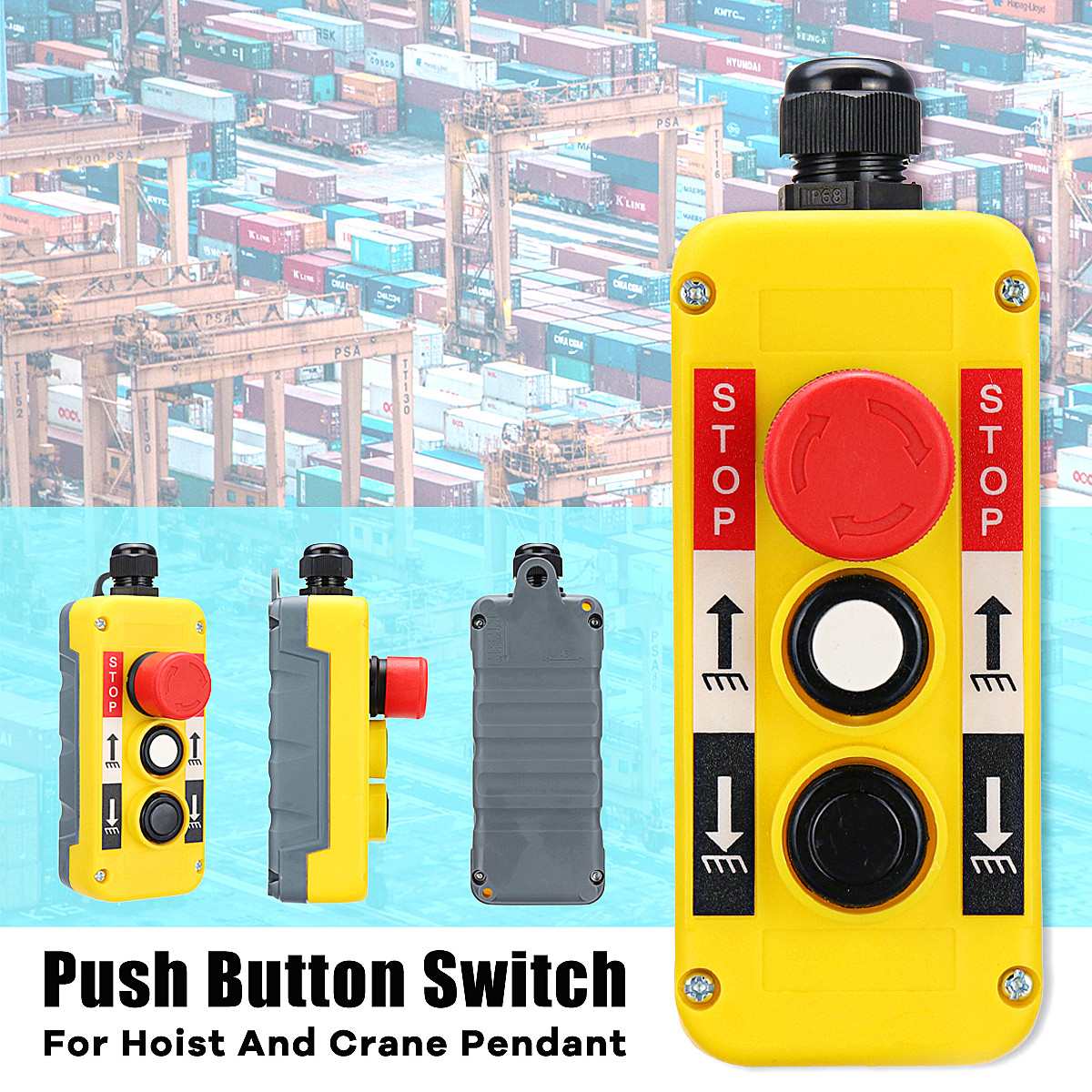 Push Button Switch With Emergency Stop For Hoist Crane Pendant Control Station
