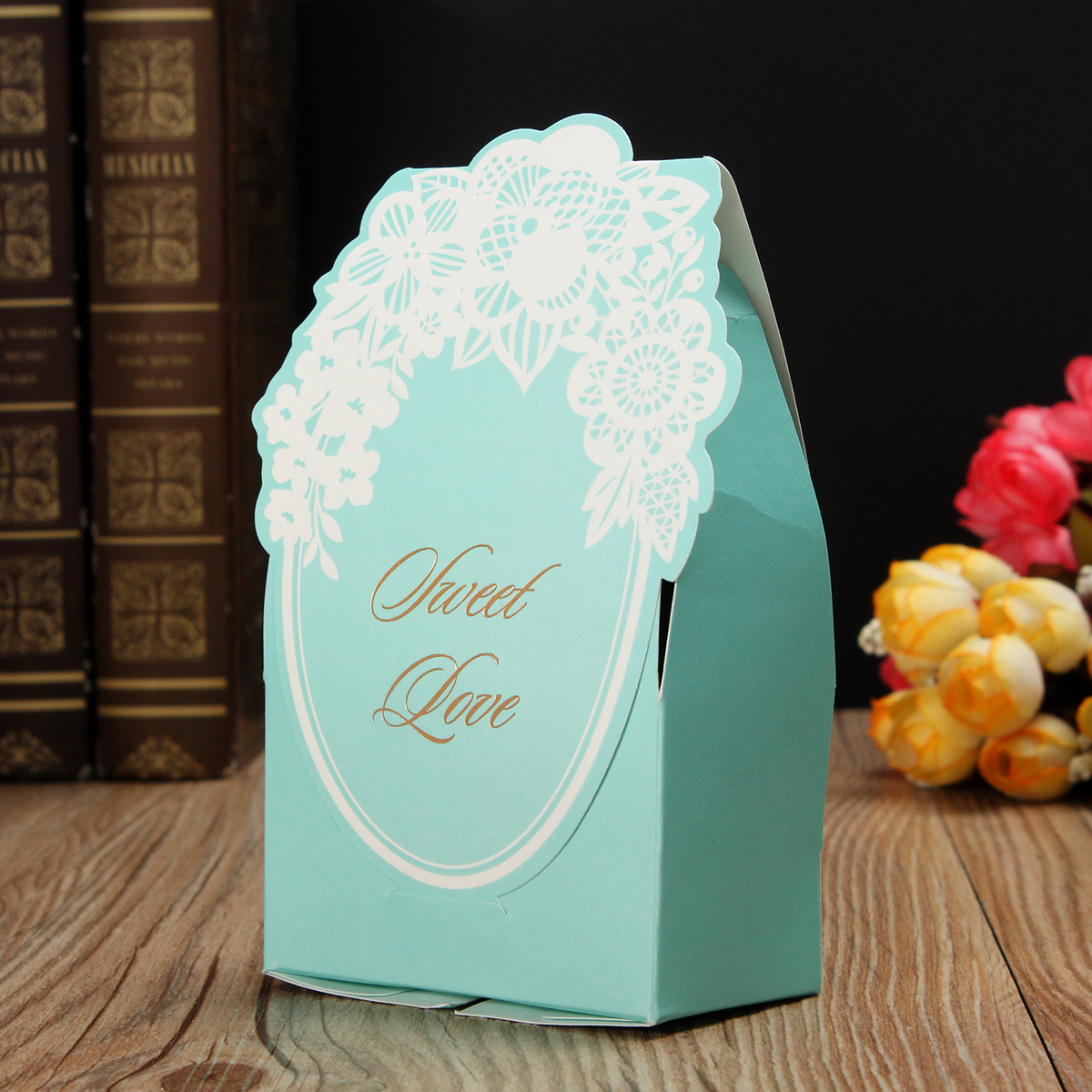 1 PCS Blue Paper Lace Printed Wedding Candy Box Sweet Cake Gift Bags Party Favors