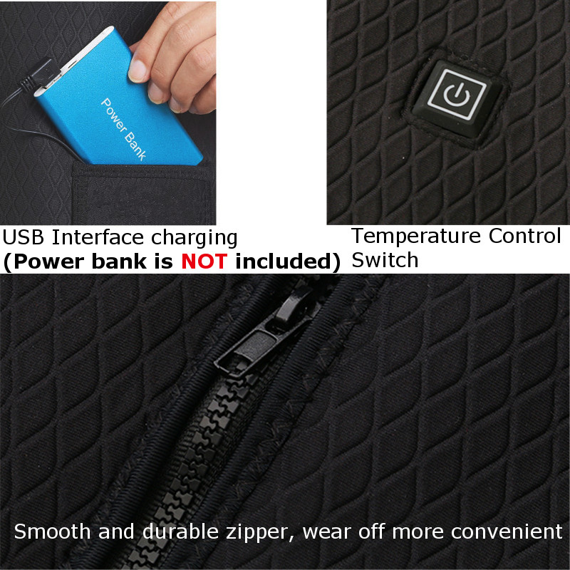 Electric USB Power Supply Warm Heated Vest Heating Jacket Racing Coat Best For Winter