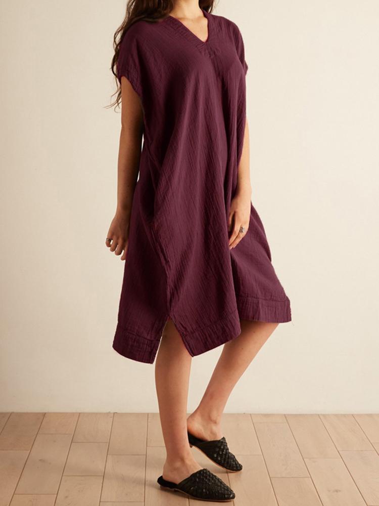 Women Cotton Back Hollow Loose Short Sleeve Dress
