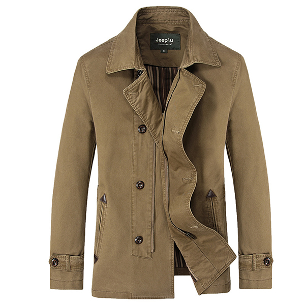 Mens Outdoor Suit Collar Turn-Down Collar Jacket Casual Fashion Slim Solid Color Coat