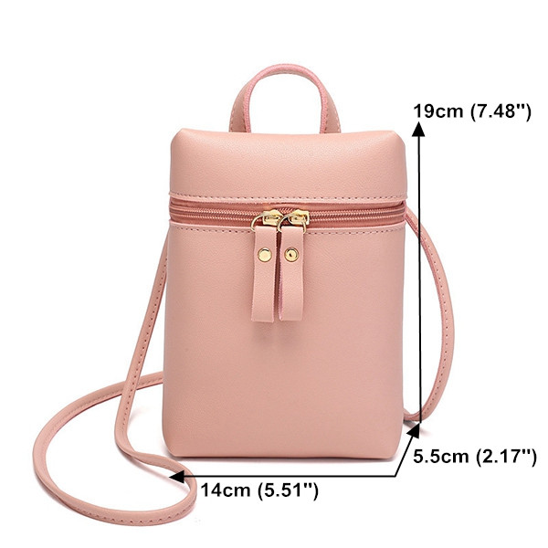 Women Faux Leather Mini Phone Crossbody Bag