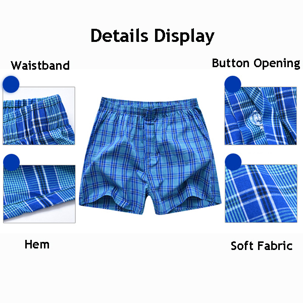 Mens Plaid Printing Casual Arrow Shorts Loose Mid Waist Sleepwear Sports Cotton Boxers