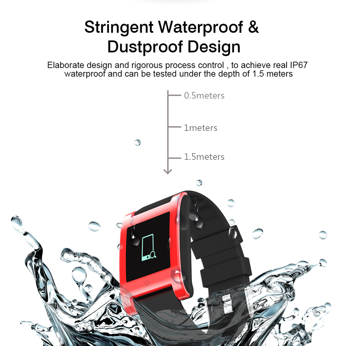 KALOAD DM68 IP67 Waterproof Fitness Tracker Blood Pressure Heart Rate Monitor For Android & IOS