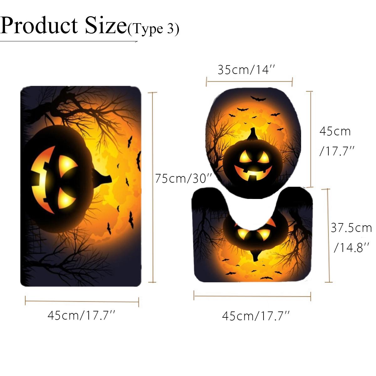3Pcs/Set Halloween Pumpkin Bathroom Toilet Seat Cover Non-Slip Rug Mat Carpet