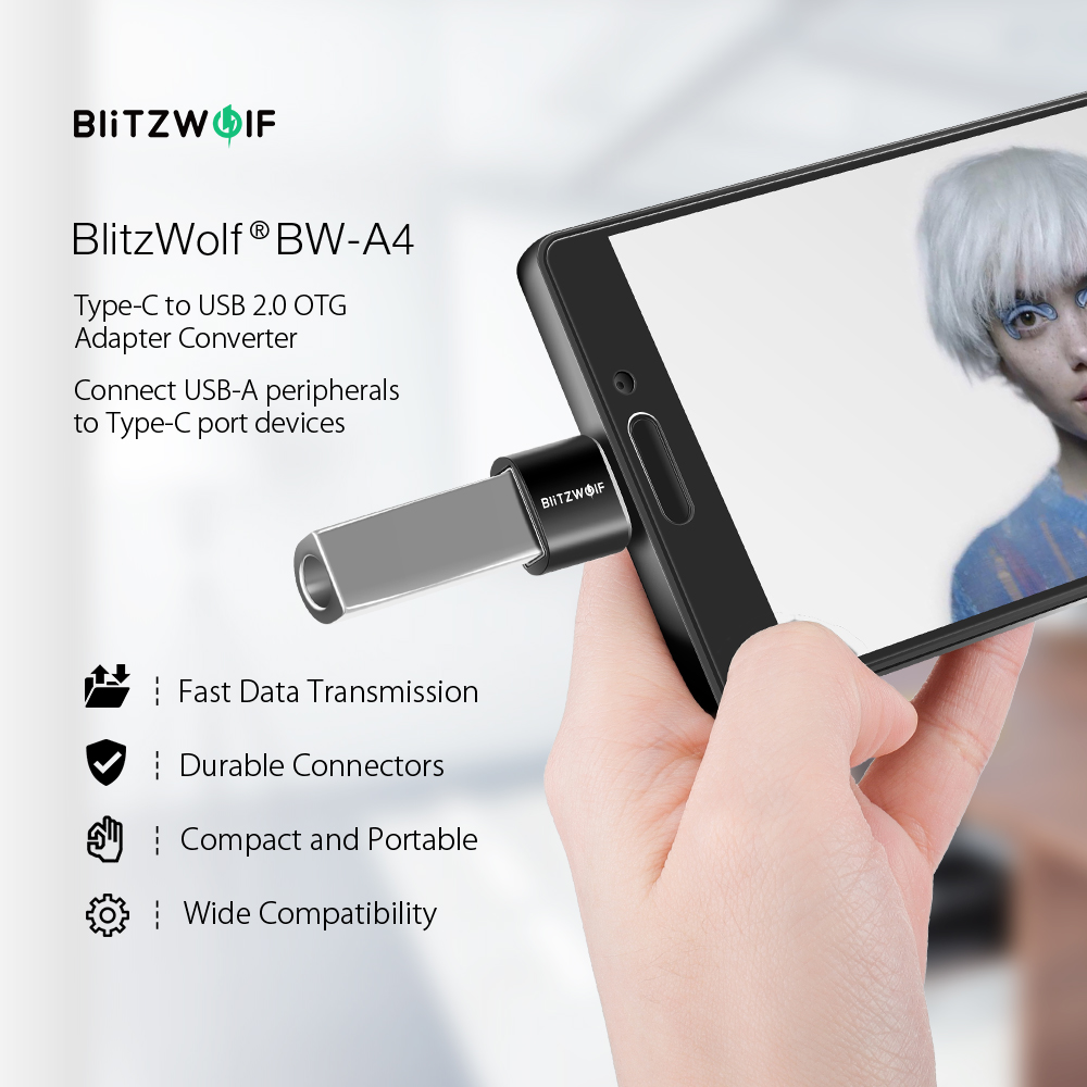 BlitzWolf® BW-A4 Mini Type C to USB2.0 OTG Adapter Converter 2 PCS For Macbook Pro iPad Pro Xiaomi Mi 8 Pocophone F1