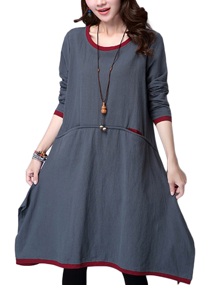Vintage Linen Patchwork Long Sleeve Pocket Midi Dress