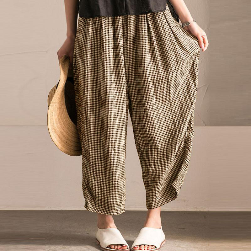Vintage Plaid High Elastic Waist Long Pants