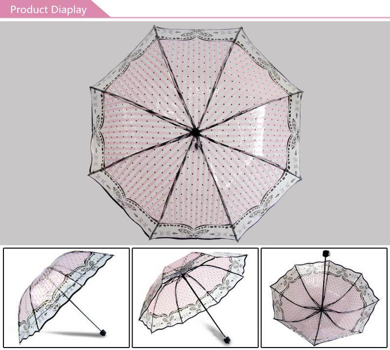 Multi Style Transparent Umbrella PVC Three Folding Apollo Lace Thicken Windproof Novelty Rain Gear