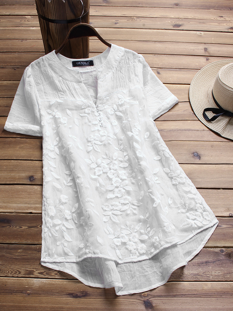 Vintage Floral Embroidery Short Sleeve Blouse