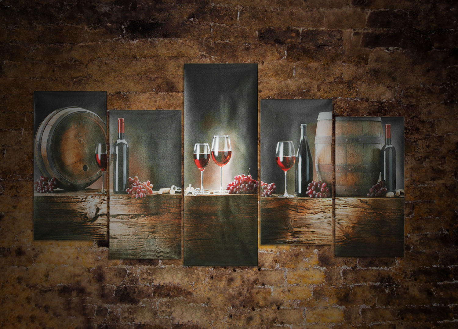 5 Panels Wall Painting Wine Art Modern Design Paintings Wall Decorations Home Decor