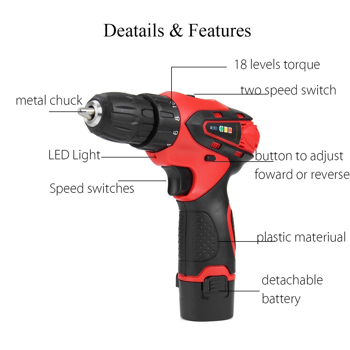 12V Lithium-ion Cordless Drill Driver Set 2-Speed Power Drill Screwdriver Tool