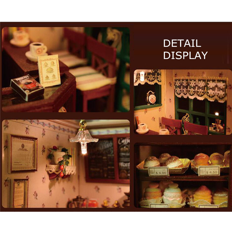 Cuteroom DIY Dollhouse Handcraft Miniature Project Kit The Star Coffee Bar Music Wooden Doll House