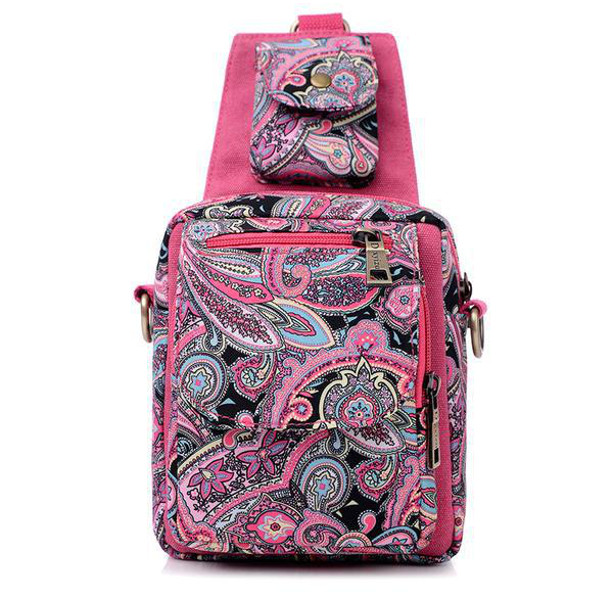 Canvas Flower Chest Bags Foldable Casual Folk Custom Messenger Bags Shoulder Bags