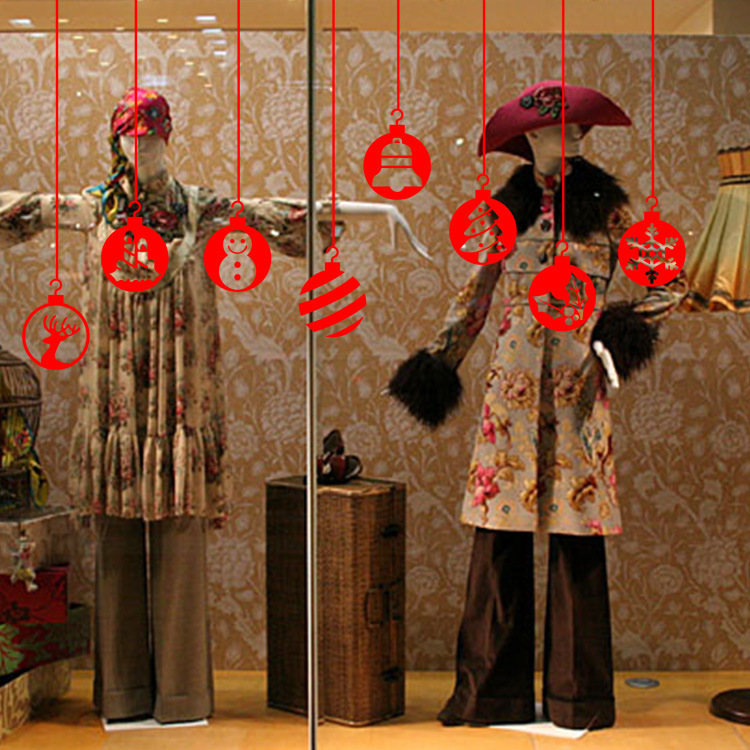 Merry Christmas Decorative Lanterns Removable Waterproof Vinyl Wall Decor Stickers Christmas Decorations for Home Living Room Shop Mall Window Glass Door Decor Poster