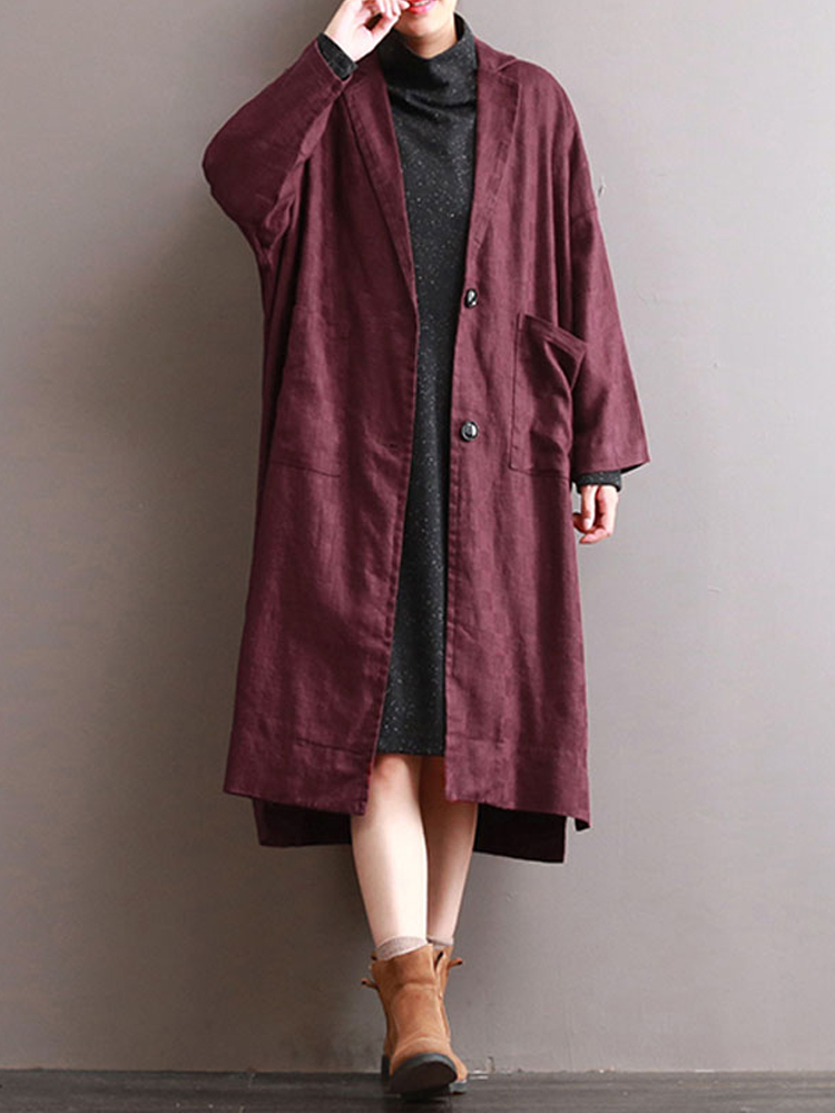 Women Lapel Long Sleeve Buttons Pockets Solid Casual Coat