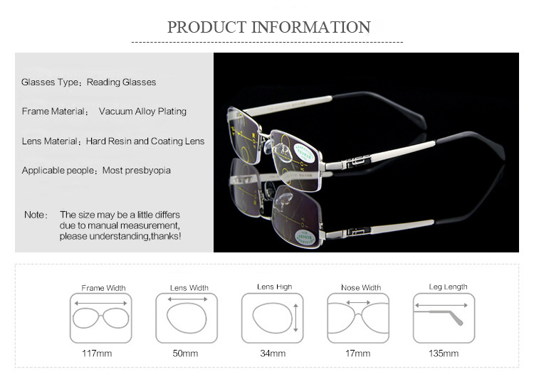 KCASA Intelligent Reading Glasses Anti UV Progressive Multifocal Lens Presbyopia