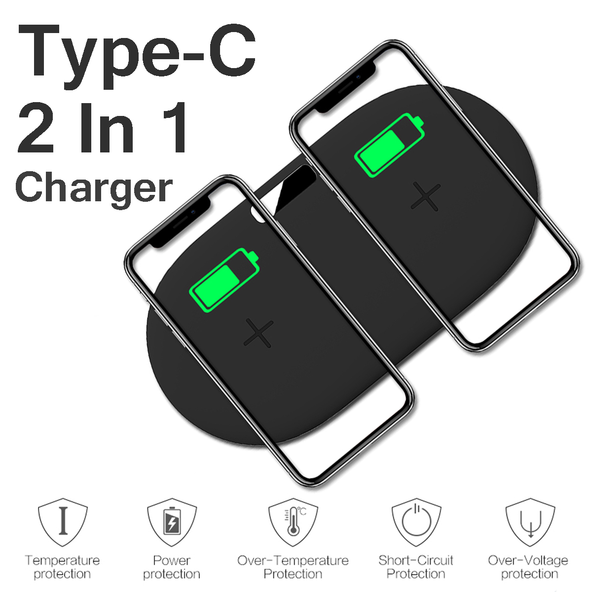 Type-C Port 2 In 1 10W Qi Wireless Charger Fast Charging Earphone Charger For Qi-enabled Devices iPhone Samsung Huawei Apple AirPods 2(2019)