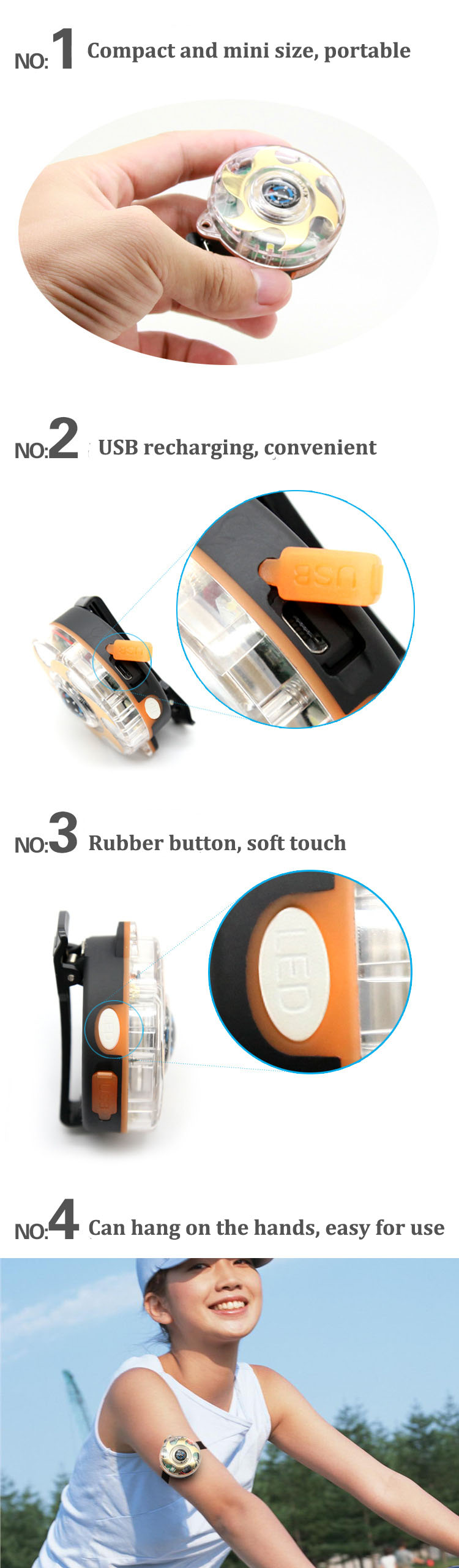 Outdooors Anti Lost 120db Personal Alarm Siren Alertor 3 Led Modes Women Children Self Defense Device