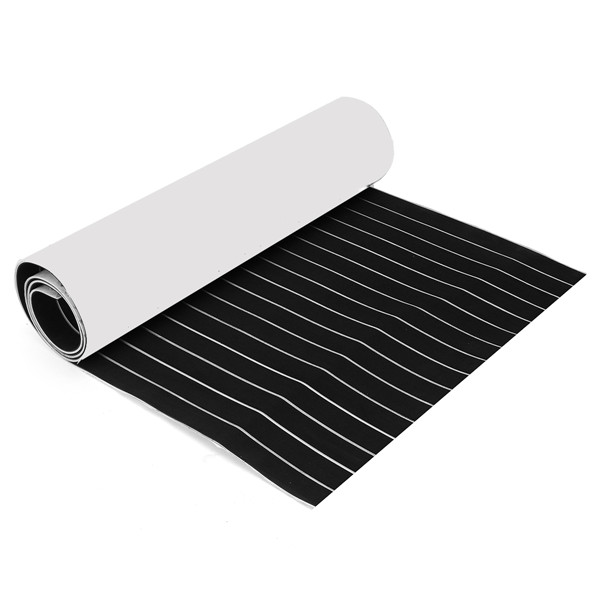 900x2400x6mm Black and White Self-Adhesive EVA Foam Teak Sheet Boat Decking Faux Marine Floor Board
