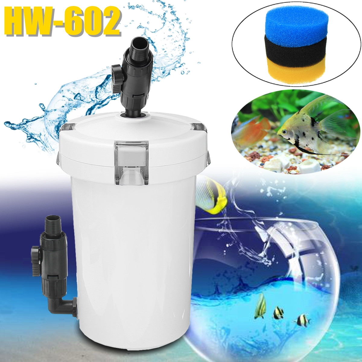 SUNSUN HW-602 220V External Canister Filter Aquarium Fish Tank Water Filter