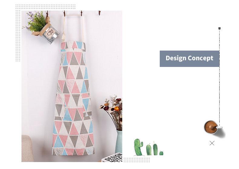 Honana Cotton Sleeveless Apron Triangular Lattice Kitchen Cooking Simple Aprons Cotton Linen Art Adult Cute Gown