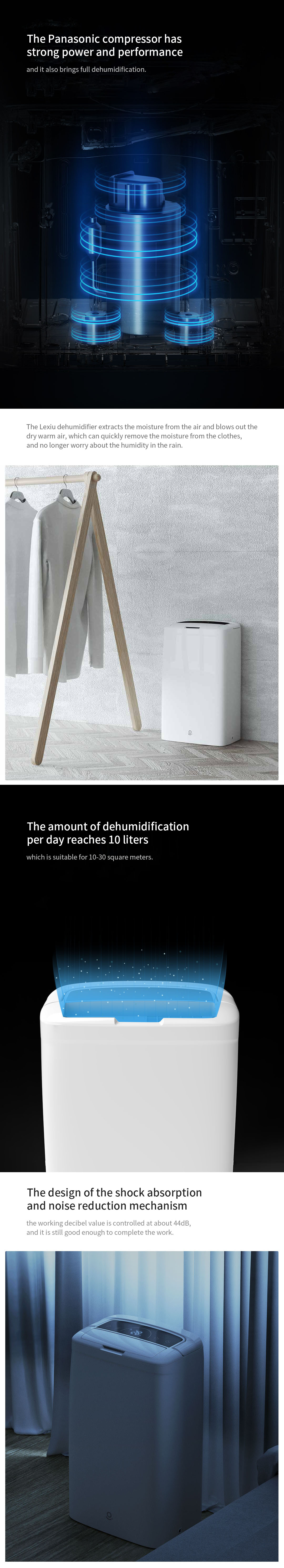 Lexiu Household Multi-functional Air Dehumidifier Dryer Machine with Strong Power Soft and Low Noise from Xiaomi Youpin