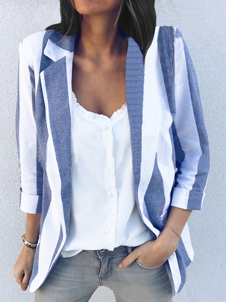 Women Casual Long Sleeve Stripe Office Outerwear Blazers
