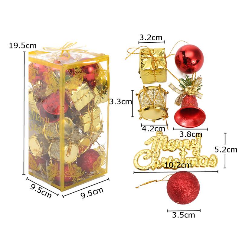 32stückeweihnachtsbaumdekorationbälletrommeln glocken flitter ornamente kinder kinder partei liefert