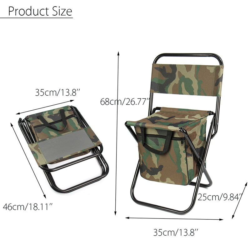 Camouflage Folding Chair Outdoor Camping Fishing Lightweight Foldable Chair With Bag