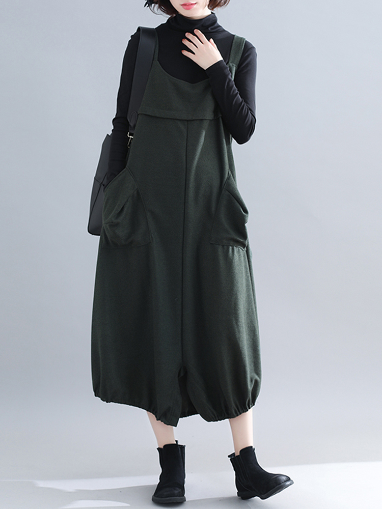 Casual Women Sleeveless Straps Pocket Loose Mid-long Dress