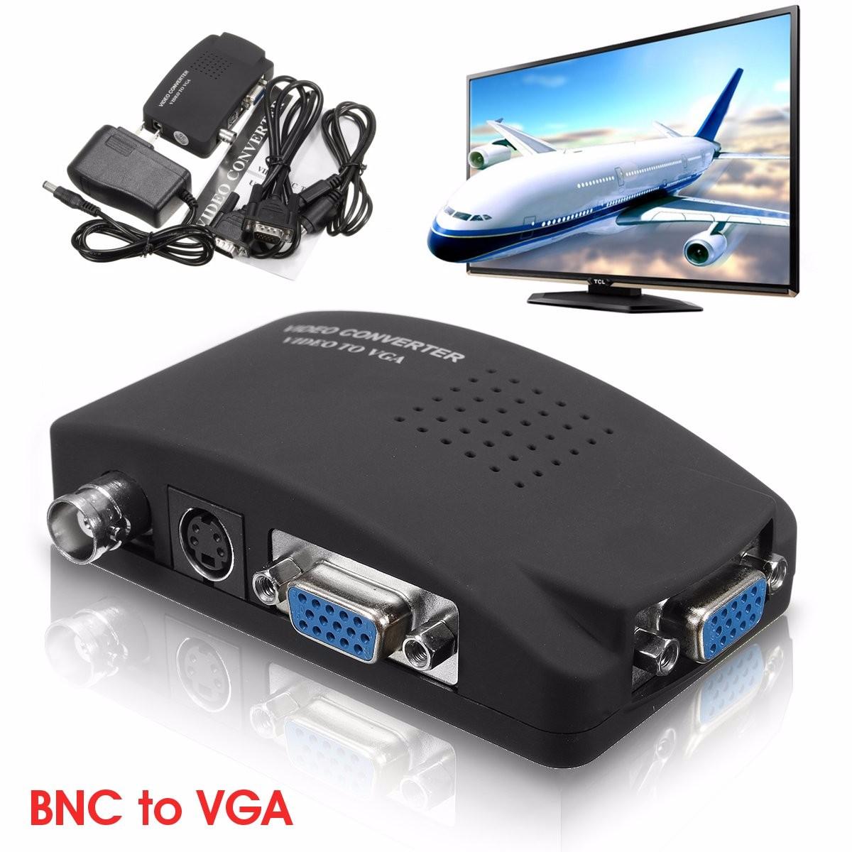 BNC S Video VGA to Laptop Computer PC VGA Monitor Converter Adapter Box 1080P