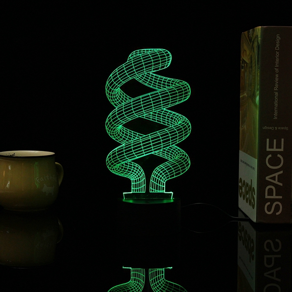 3D Tornado Illusion LED Table Desk Light USB 7 Color Changing Night Lamp