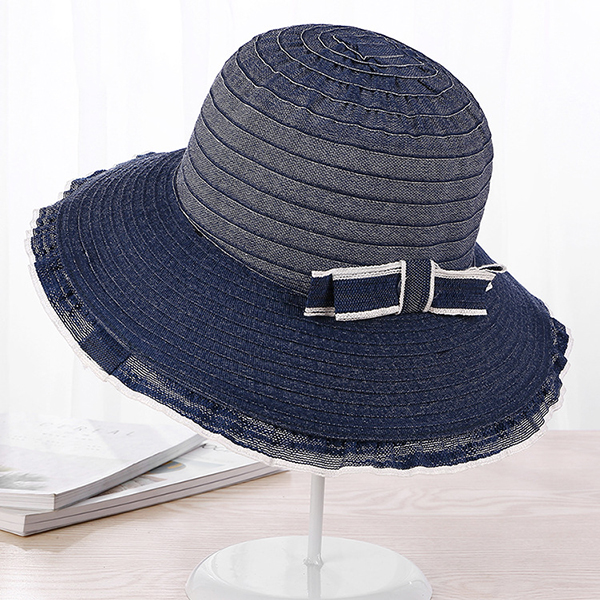 Women Summer Bowknot Big Brim Sunshade Visor Straw Beach Hat