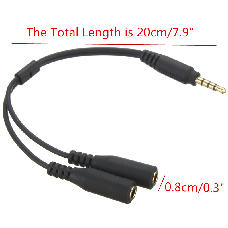 3.5MM 1 Male To 2 Dual Female Earphone Microphone Y Splitter Audio Cable Adapter