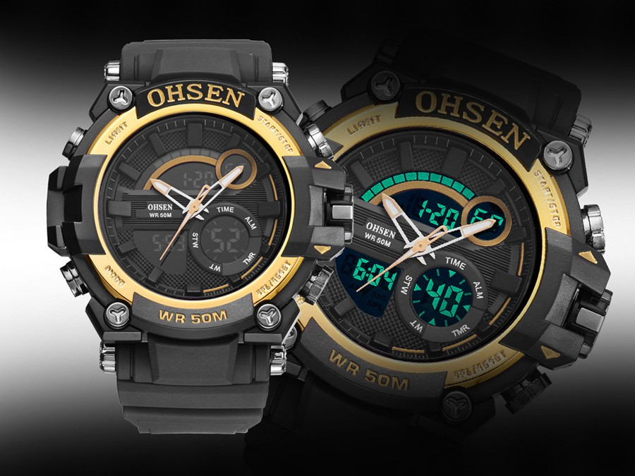 OHSEN AD1706 Digital Watch Dual Display Multifunction LED Sport Swimming Men Watch