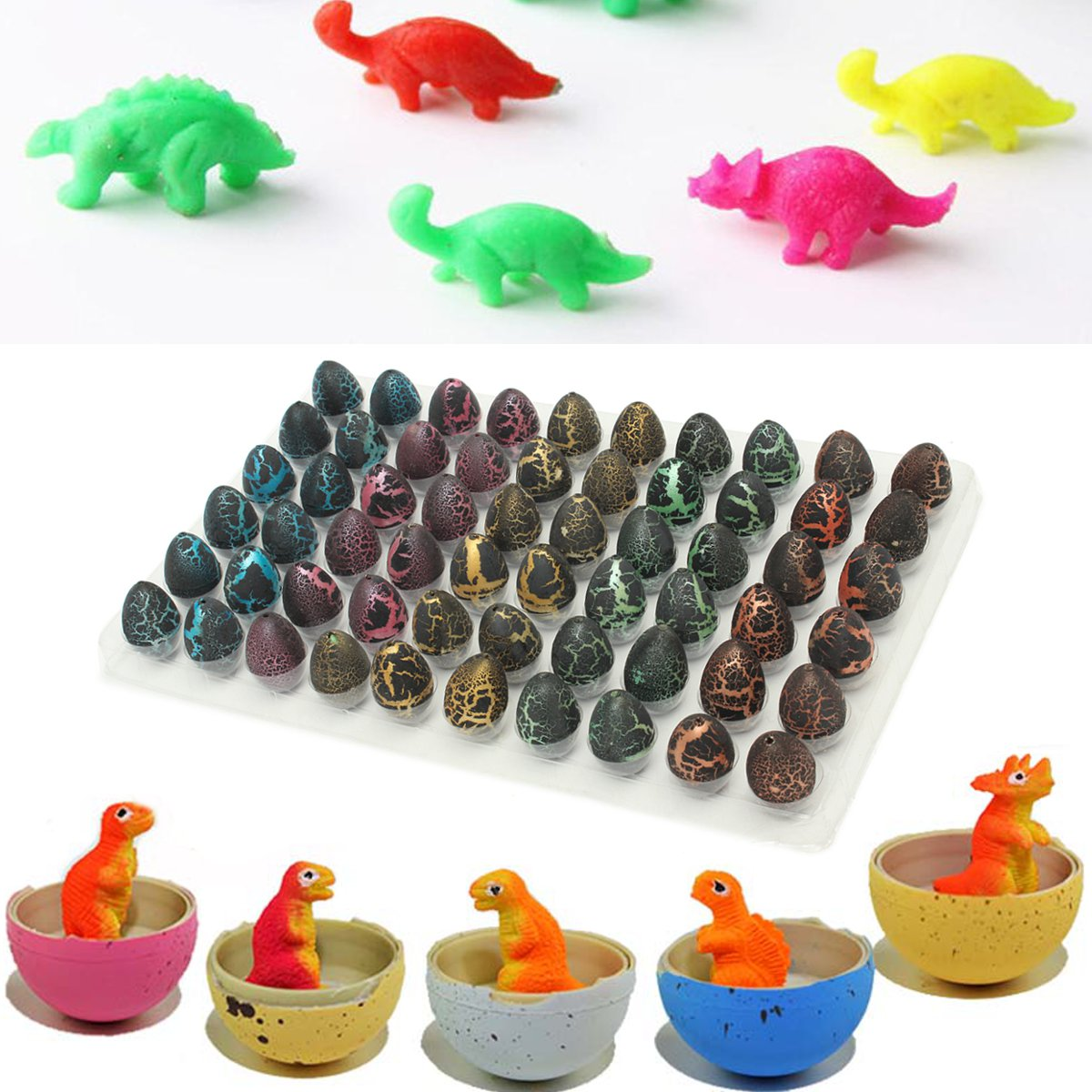 60 Pcs Black Magic Add Water Dinosaur Egg Hatching Dino Growing Toy Gifts