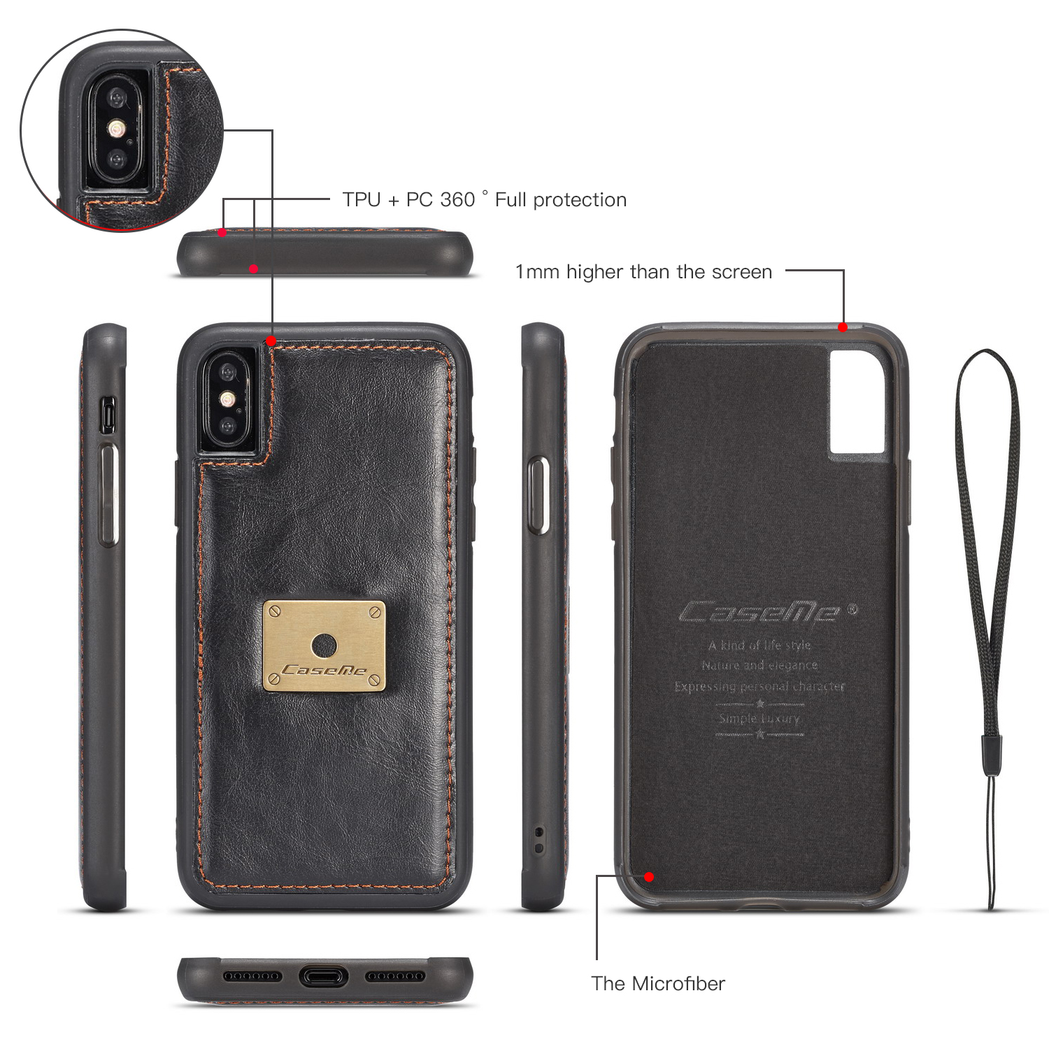 Caseme Magnetic Detachable Wallet Protective Case For iPhone XS Max