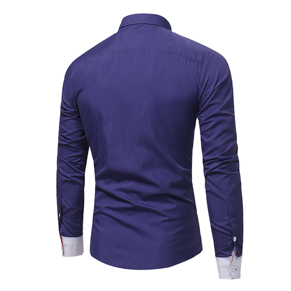 Designer Slim Fit Contrast Color Decoration Dress Shirt