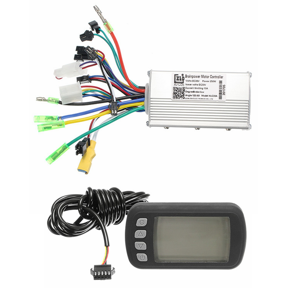 Electric Bike Controller Wires Illustration With Led Display Or Lcd
