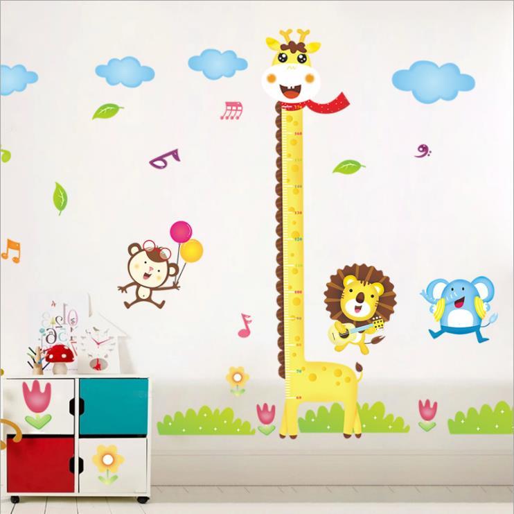 Diy Giraffe Height Chart Measure Wall Stickers Wall Cartoon Animal Kids Baby Room Decoration