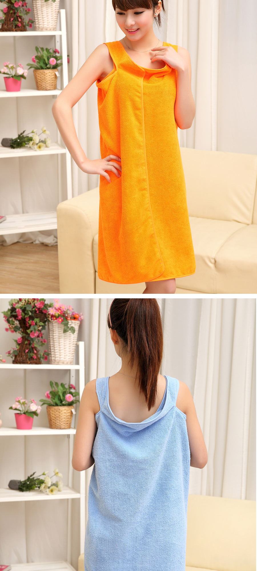 Honana BX-949 Summer Microfiber Soft Beach Able Wear Spa BathRobe Plush Highly Absorbent Bath Towel Skirt