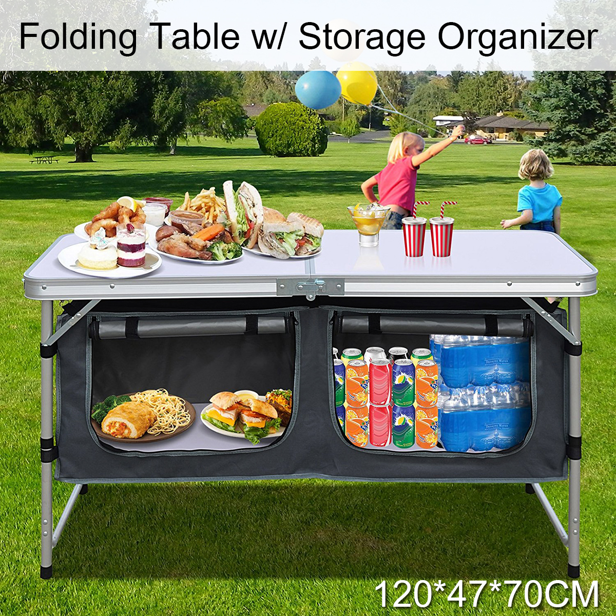 48inch Portable Aluminum Camping Picnic Folding Table Outdoor Desk With Storage Bag